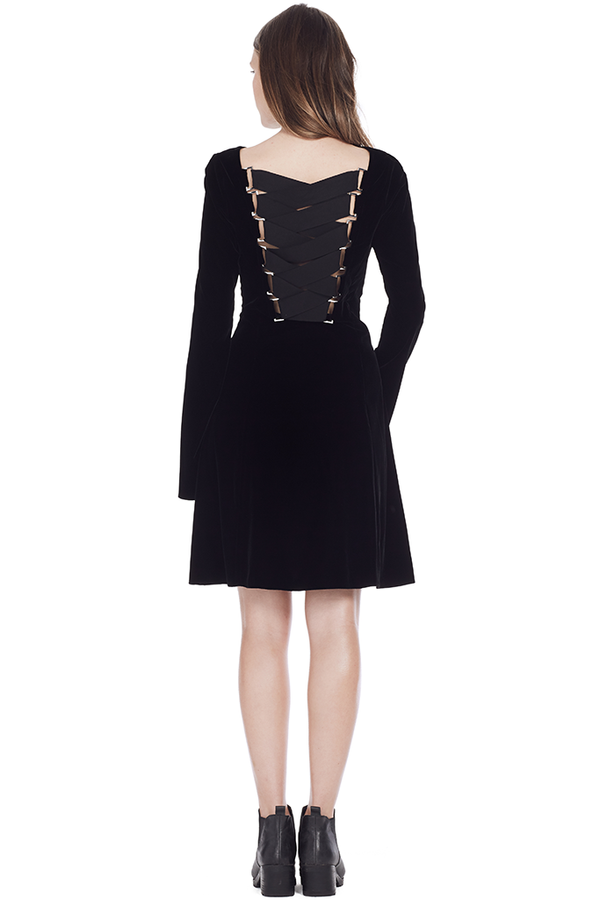 L/S Lace Up Back Dress