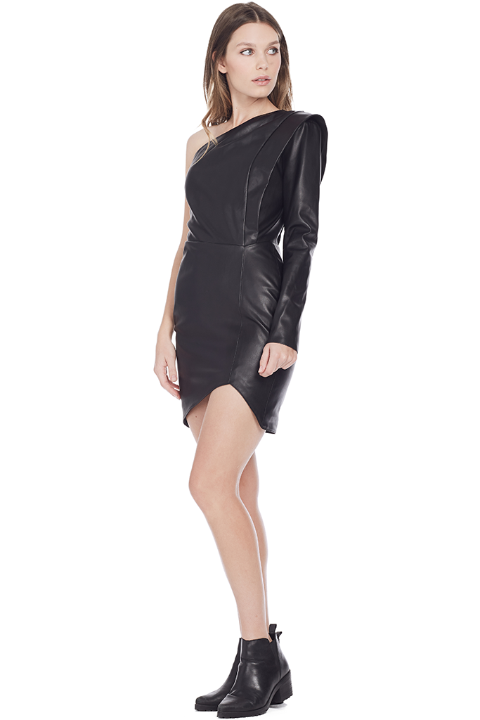 Faux Leather One Sleeve Dress