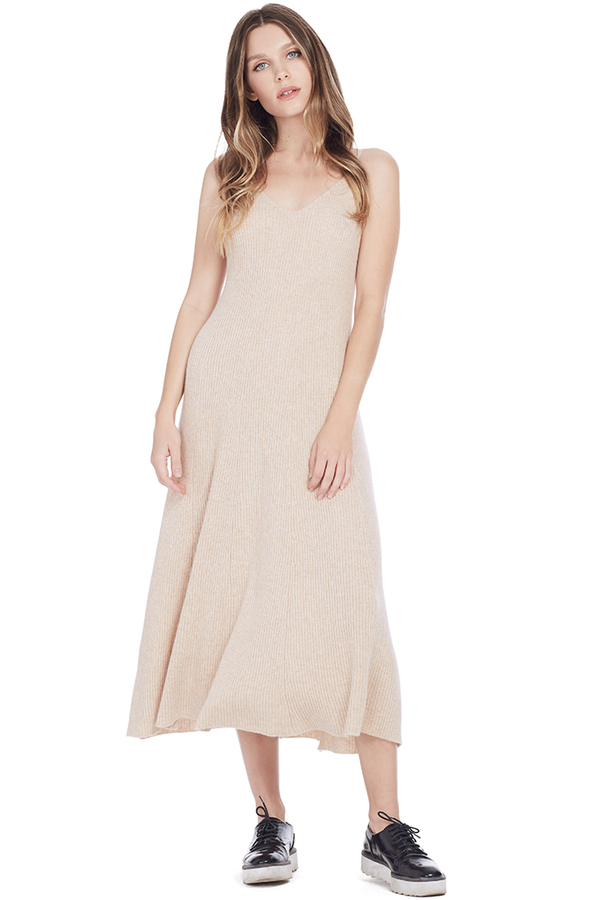 Cashmere Ribbed Circle Dress (Bisque)