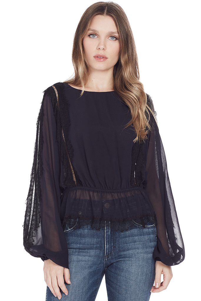 Nellie Top with Lace Trim