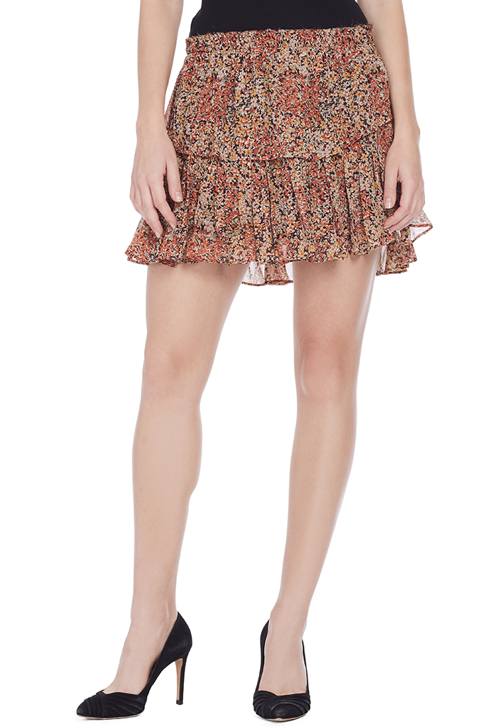 Ruffle Mini Skirt (Rust)