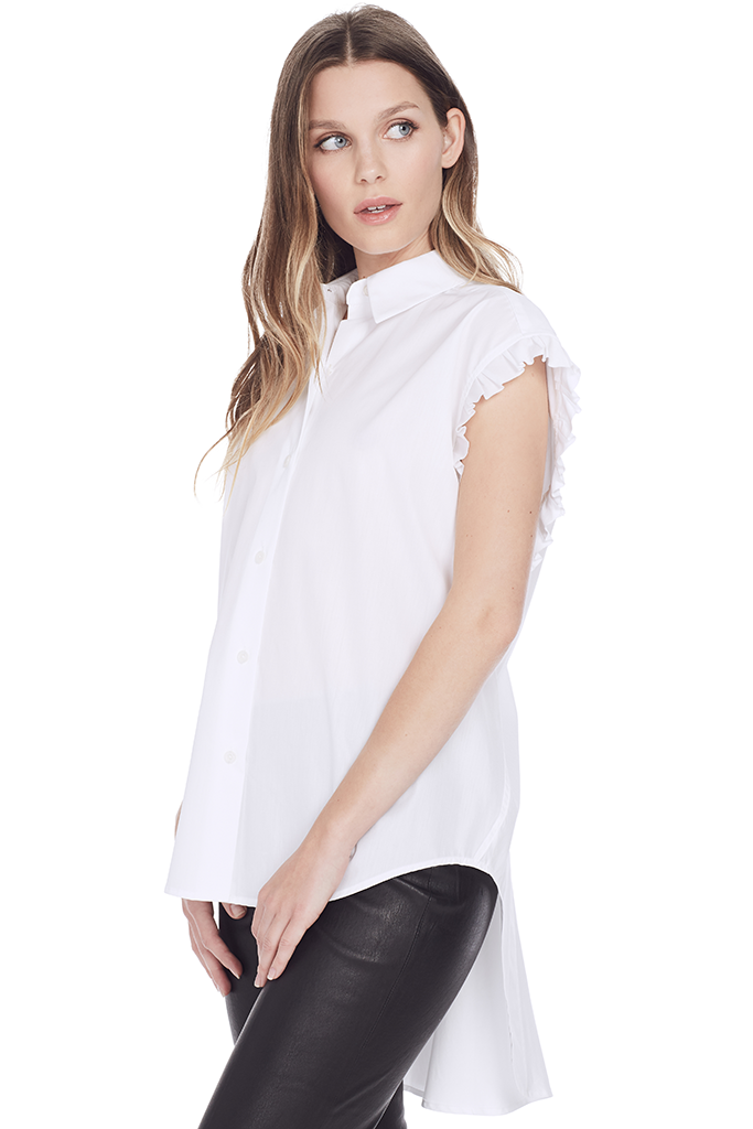 Lace Back Sleeveless Shirt (White)