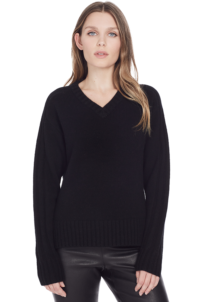 V Neck L/S Cashmere Sweater