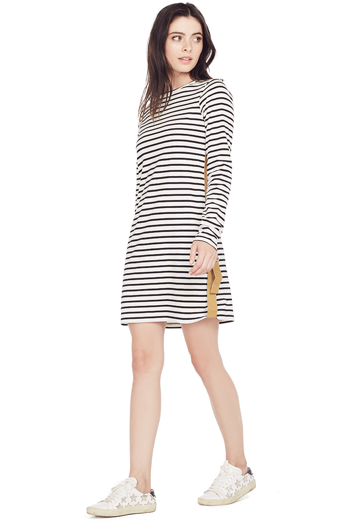 Crewneck Tee Dress w/ Tab Detail