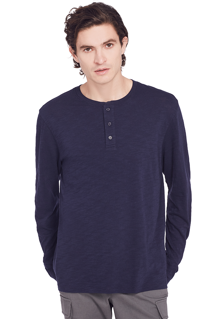L/S Slub Henley (Deep Royal)