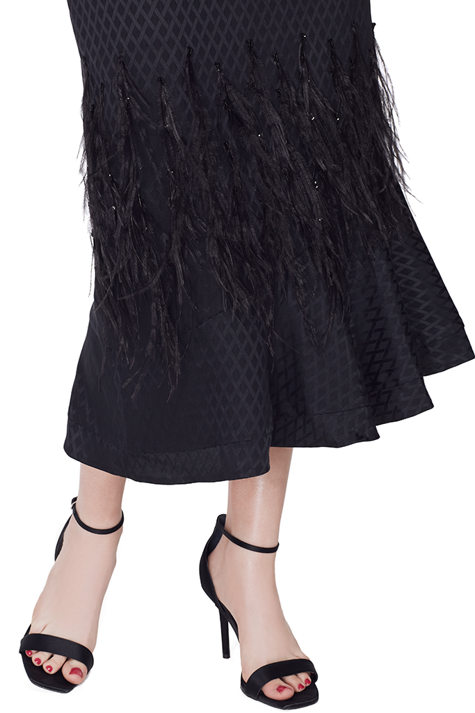 Grace Dress (Black/Feather)