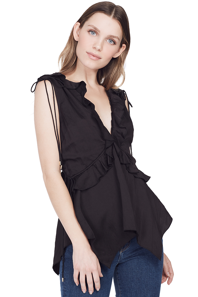 Sleeveless V-Neck Ruffle Top