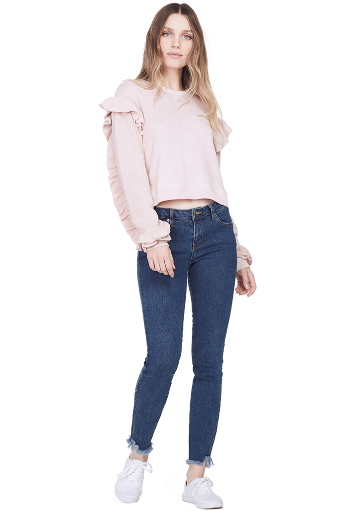 Ruffle Sweatshirt (Dusty Rose)
