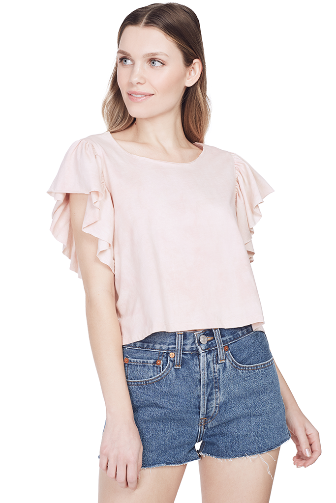 Flutter Sleeve Tee (Dusty Rose)