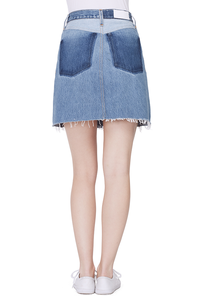 High Waist Button Front Miniskirt