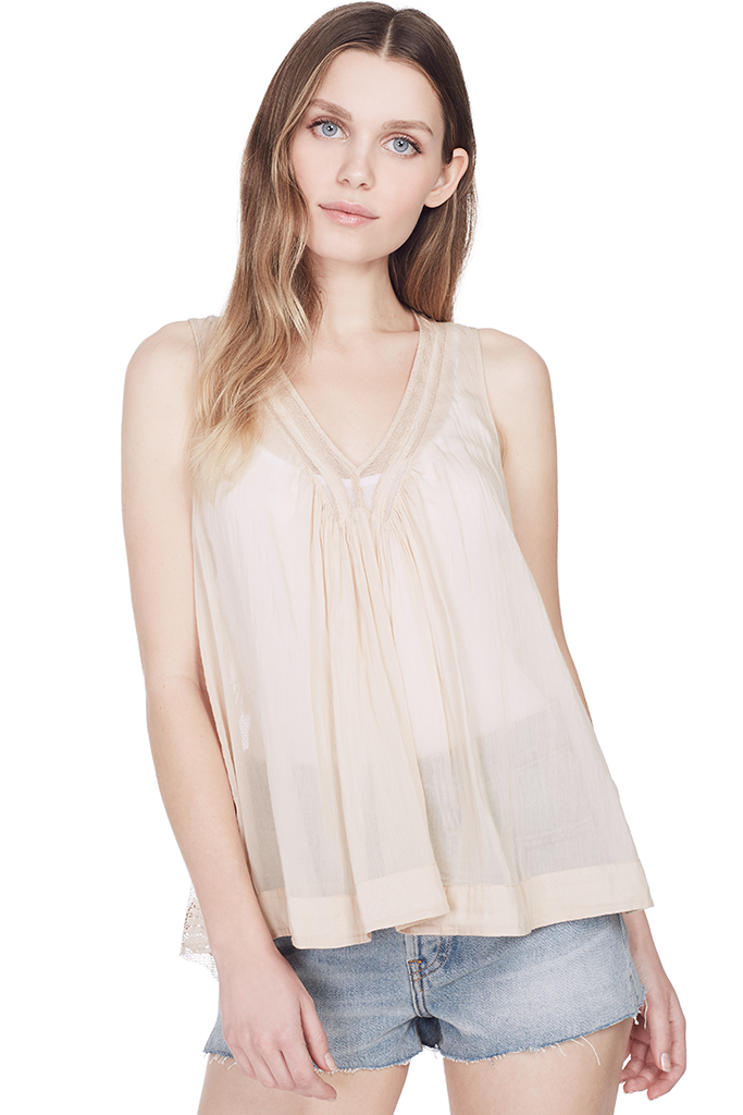 Co/Se Voile Top with Lace