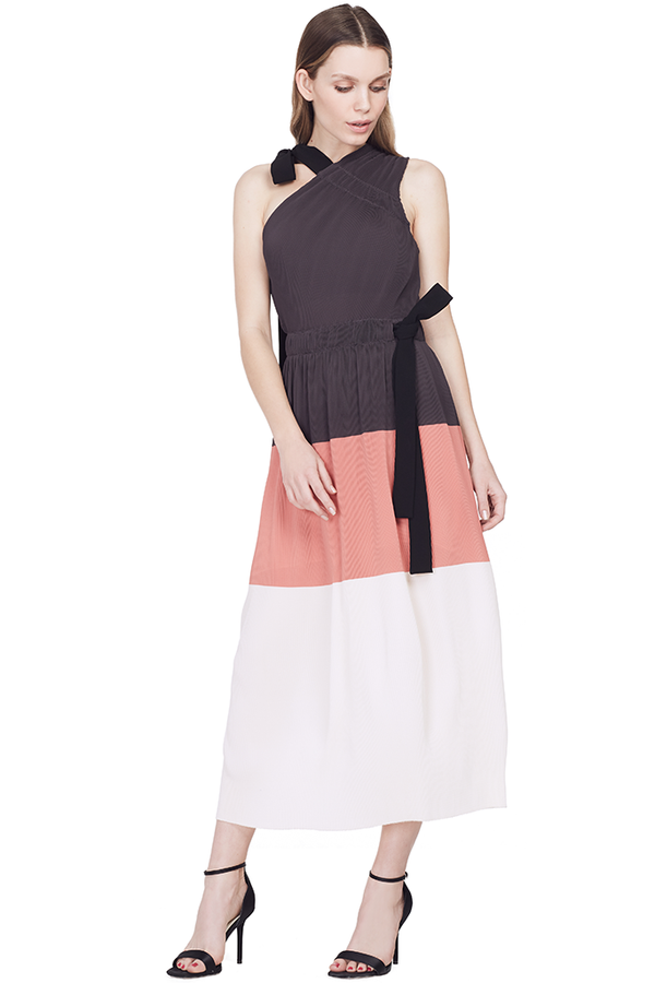 Colorblock One Shoulder Pleated Dress
