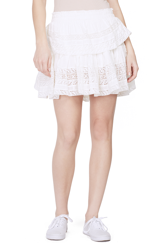 Ruffle Mini Skirt (Antique White)