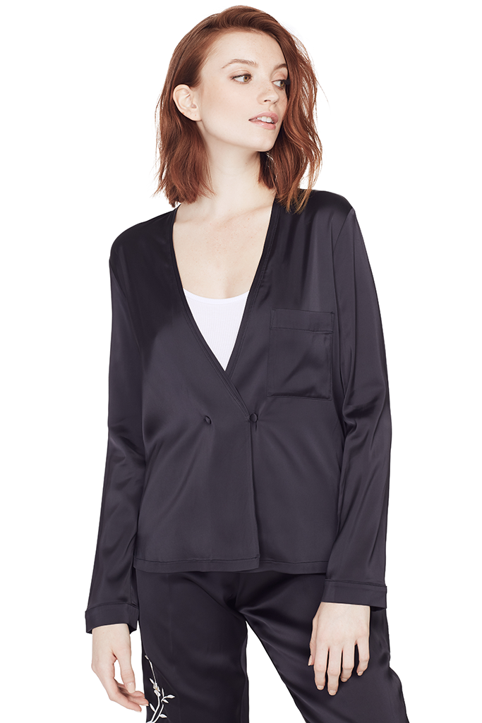 Viscose Satin Crossed Shirt