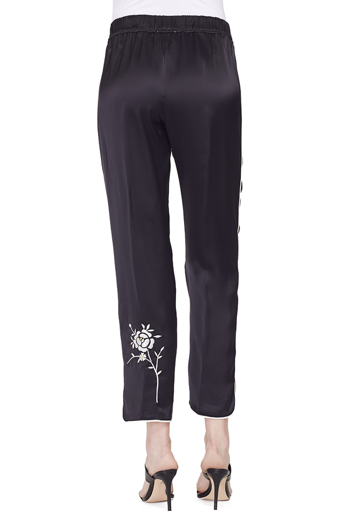 Satin Pants with Embroidery