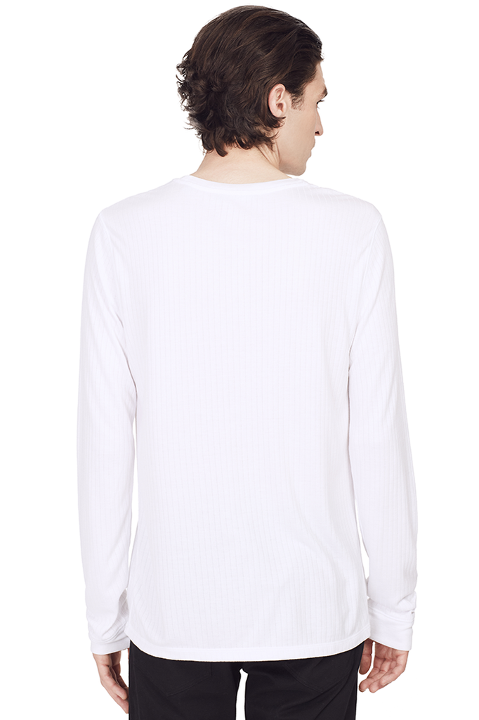 Flat Back Rib Crewneck (White)
