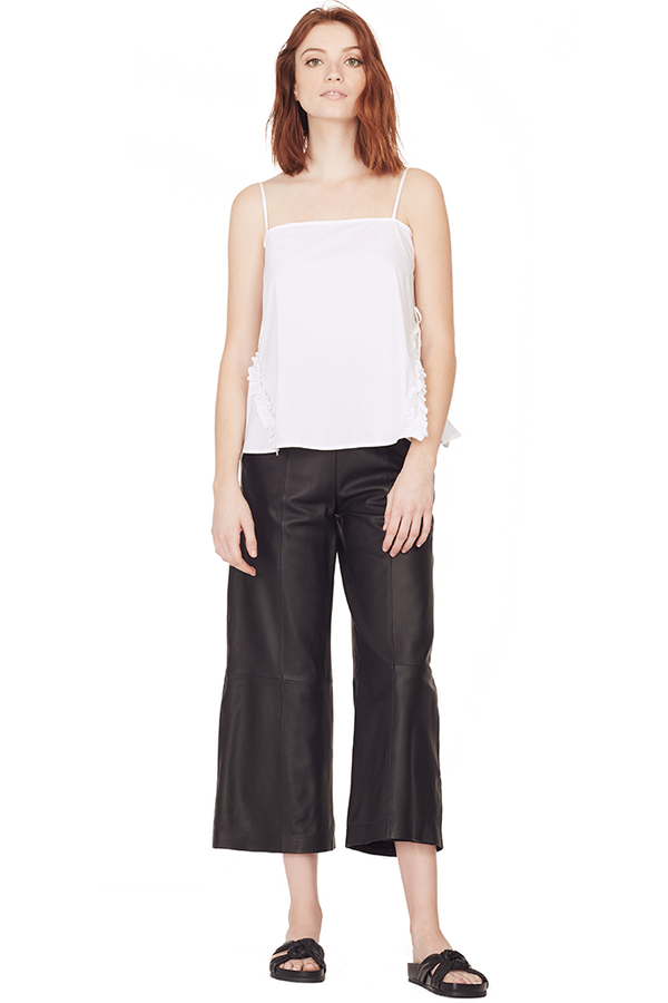 Cropped Wide Leg Leather Pant