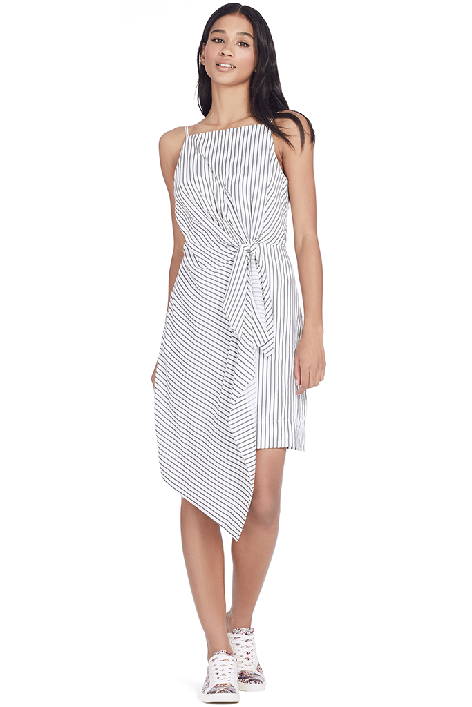 Striped Sleeveless Tie Front Dress