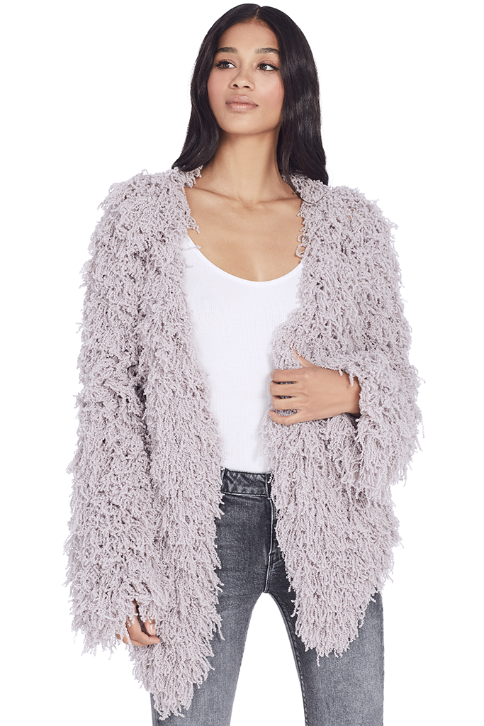 Furry Cardigan (Lavender Grey)