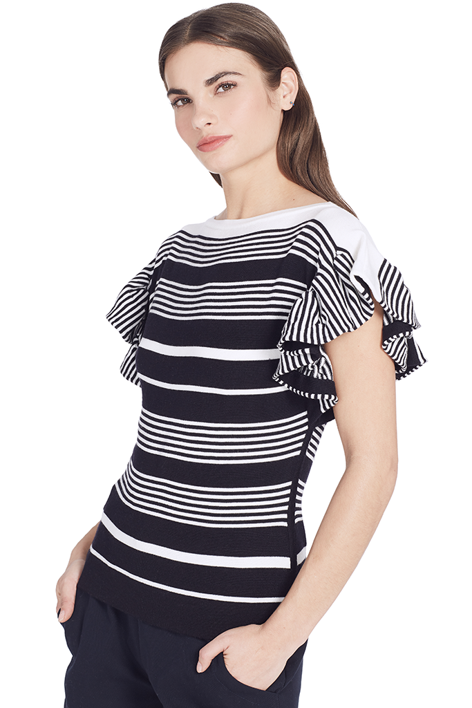 Ruffle Boat Neck Knit Top