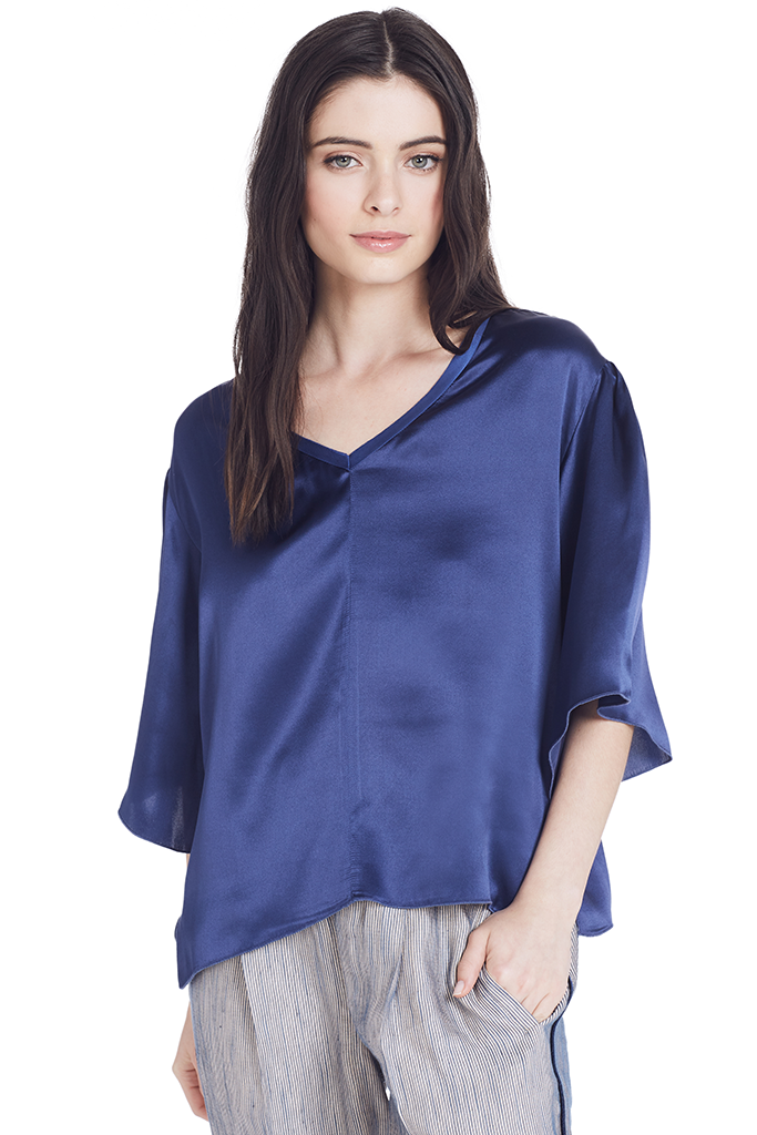 Silk V Neck Top (Bluette)