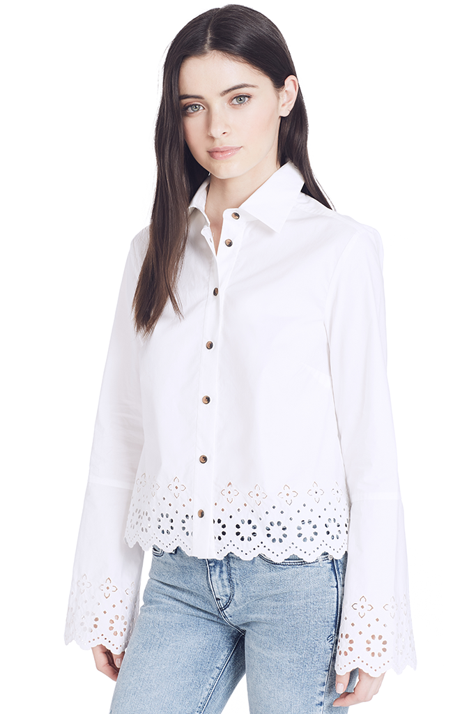 L/S Button Down w Eyelet Embroidery