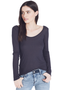Back Neckline Long Sleeves T-Shirt