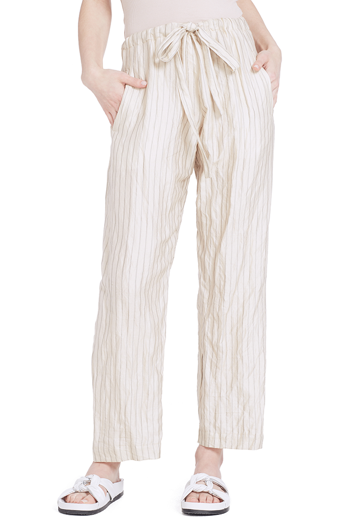 Crinkle Pinstripe Pants with Coulisse