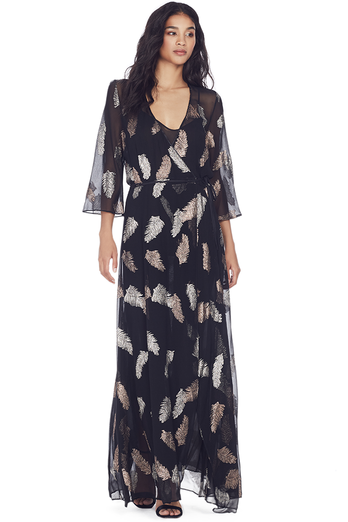 Fil Coupe Desert Leaf Print Dress