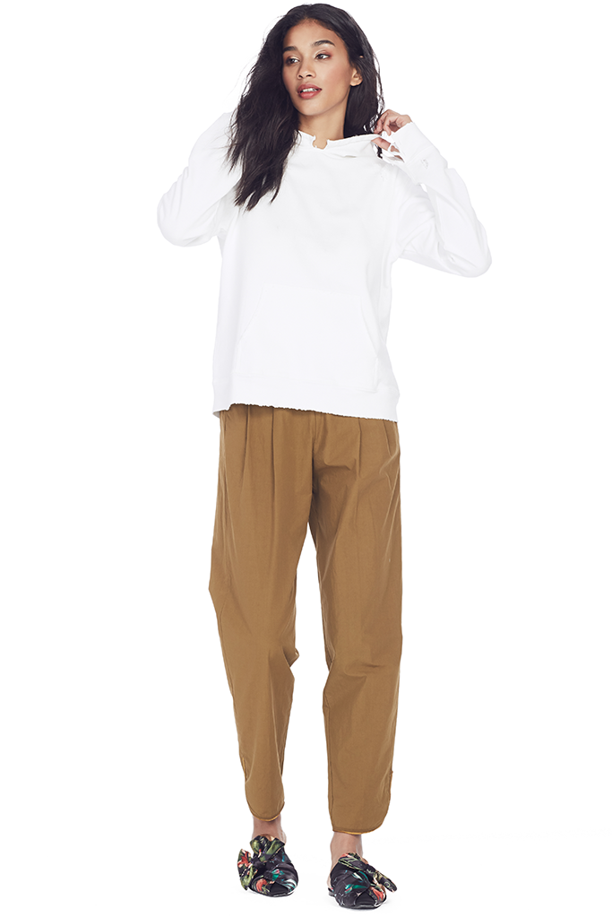 Poplin Cotton High Waist Pants