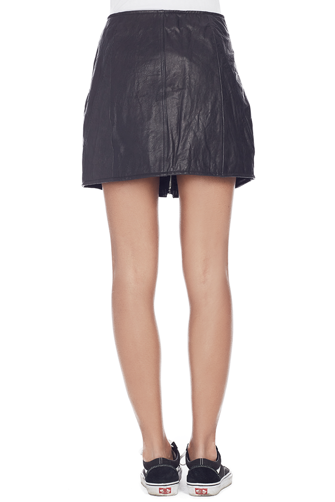Reconstructed Leather Miniskirt