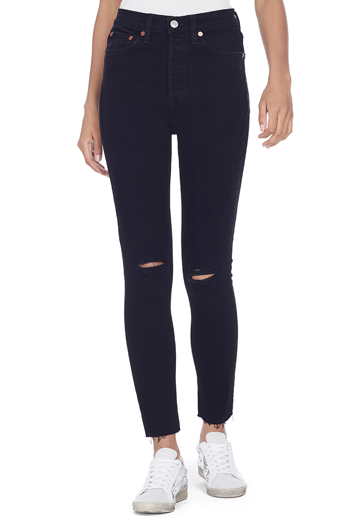 High Rise Ankle Crop (Black Destroy)