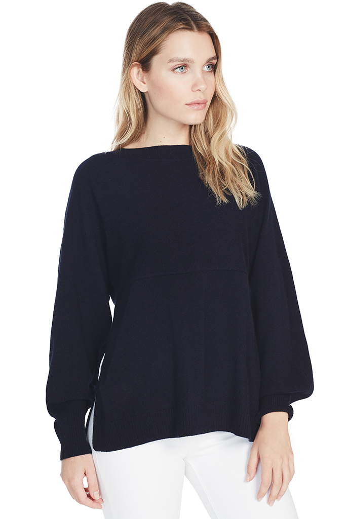 Side Slit Boatneck Sweater
