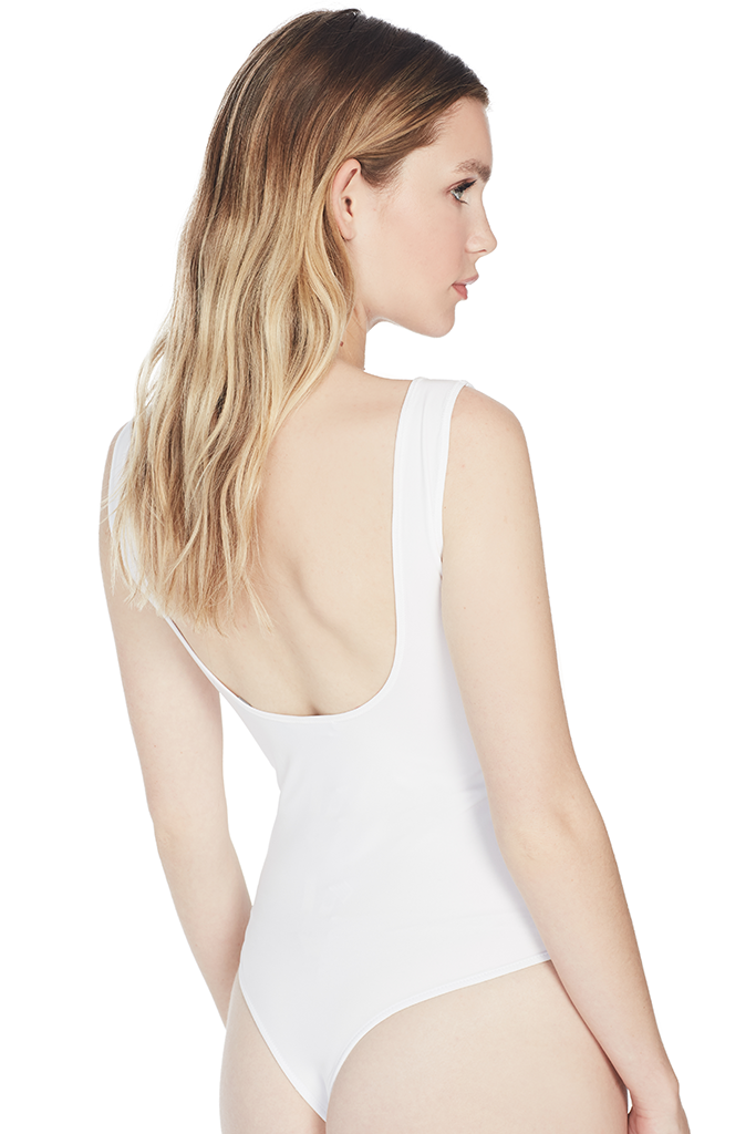 Square Neck Bodysuit (White)