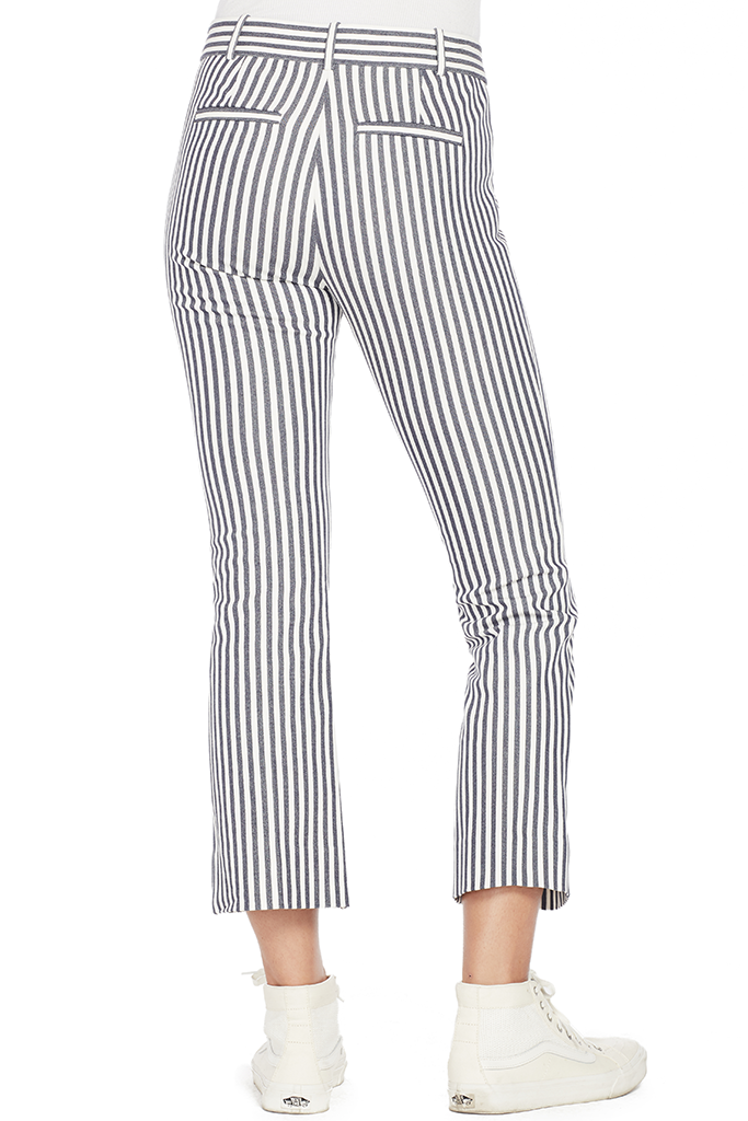 Cropped Flare Trousers (Stripe)