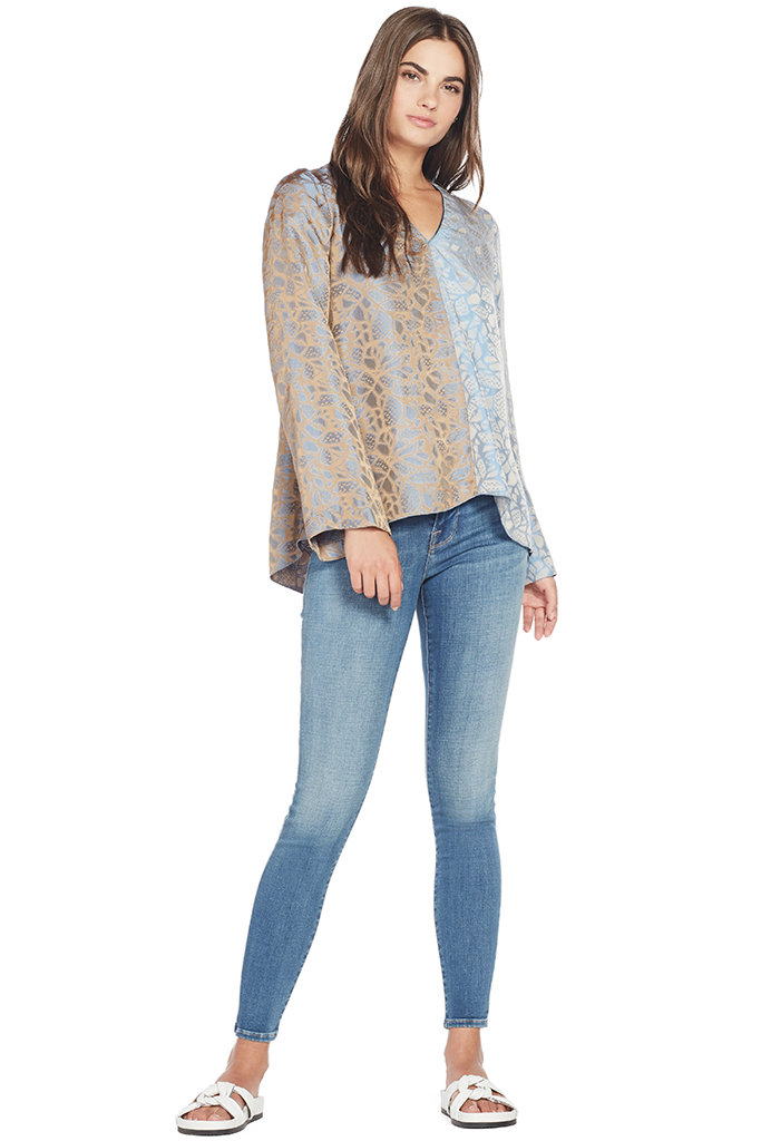 Autumn Leaf Viscose Jacquard V Neck Top