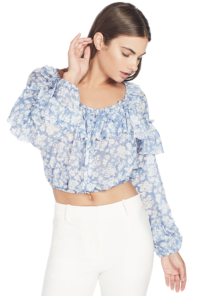 Ruffle Popover Top (Biscay Blue)