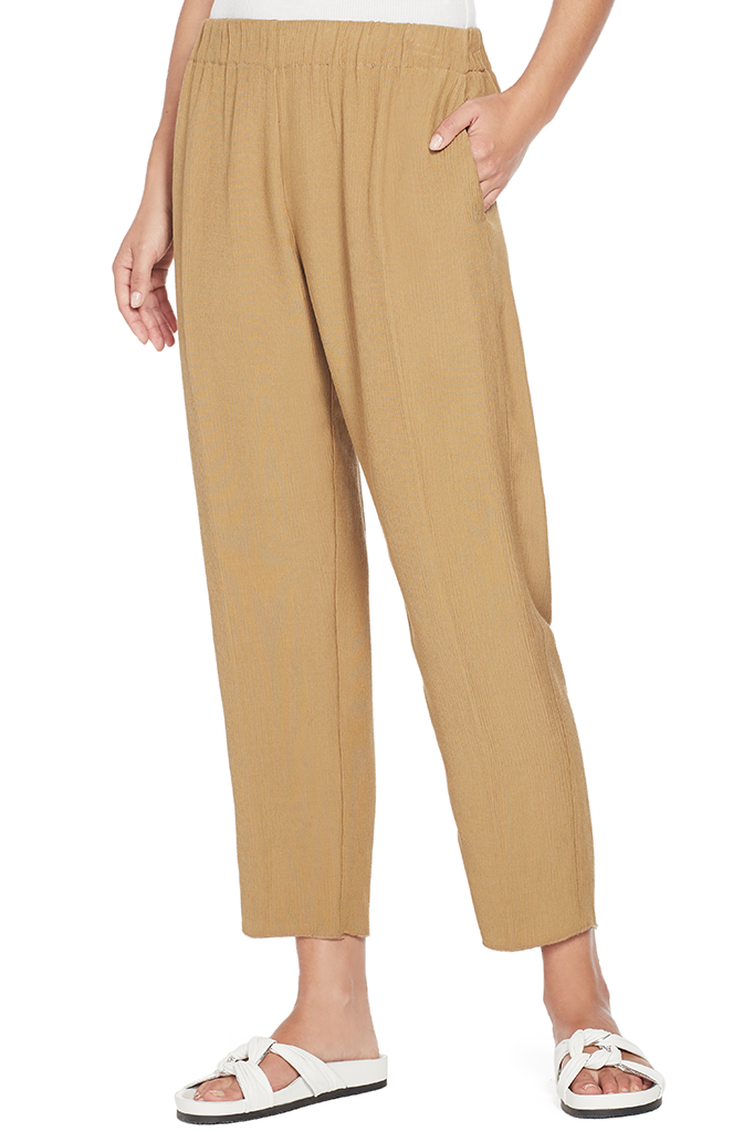 Viscose Crepe Pants With Elastic