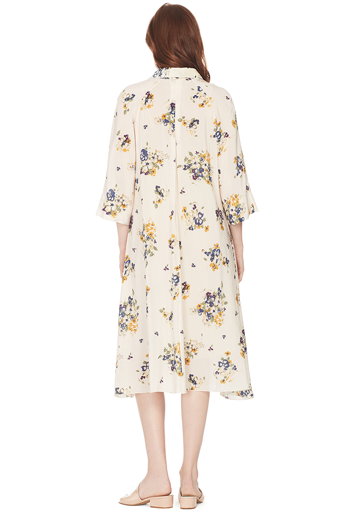 Scented Garden Print Crepe De Chine Silk Dress