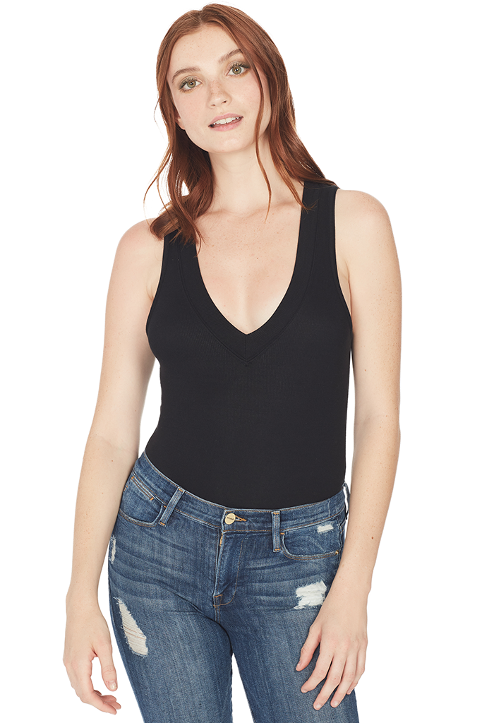 Modal Rib Deep V-Neck Bodysuit