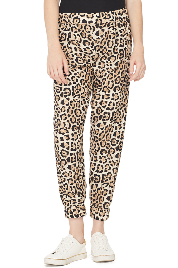 Leopard Print Silk Pull On Pant