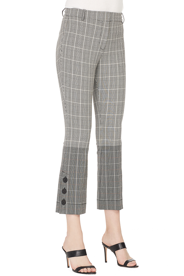 Plaid Cropped Flare Trouser