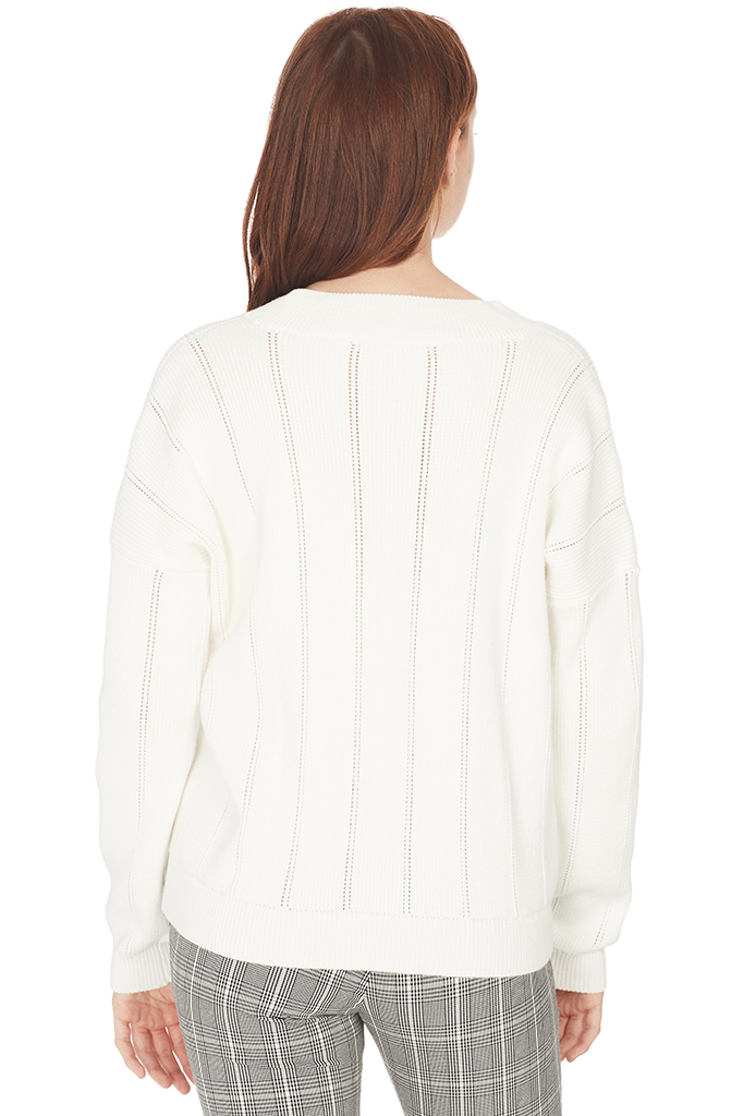 V-Neck Pointelle Sweater