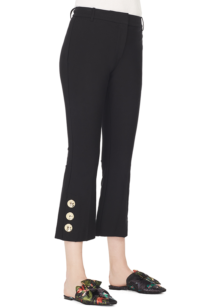 Cropped Flare Trouser w/ Button Slit Hem