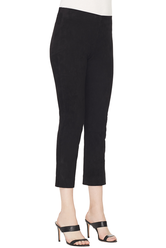Stretch Suede Split Hem Crop Legging