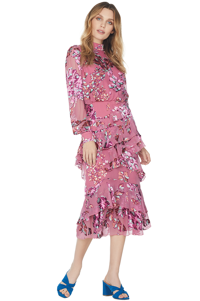 Isa Ruffle Dress (Pink Insignia)