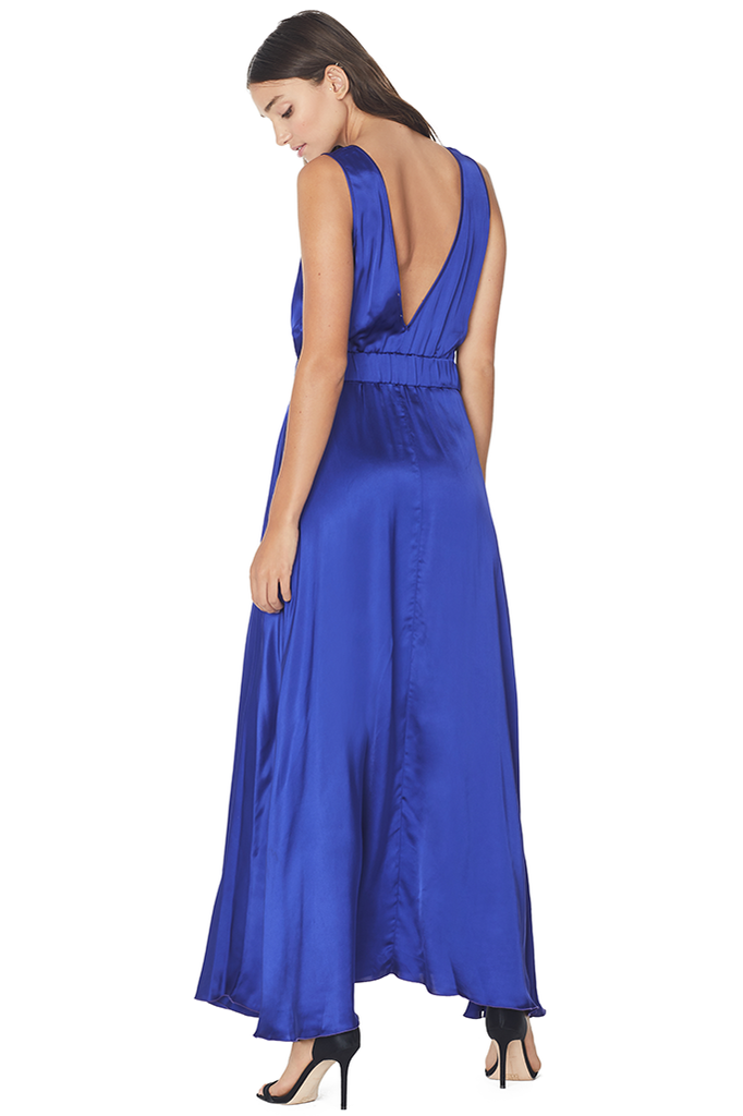 Satin Back Neckline Dress (Bluette)