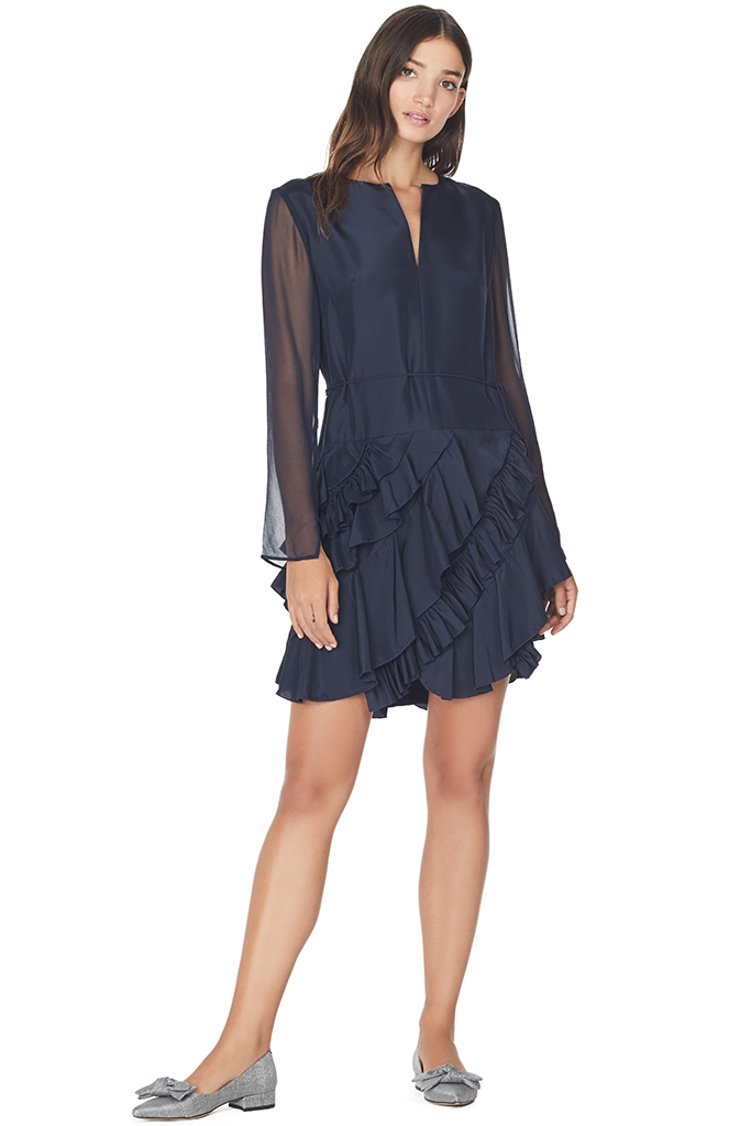 Silk Long Sleeve Ruffle Dress