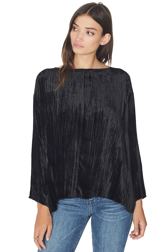 Pleated Velvet Round Neck Top