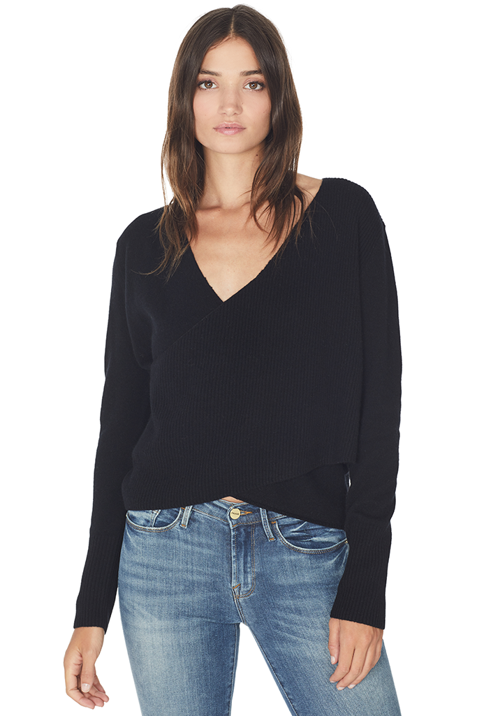 Cross Wrap Sweater (Black)